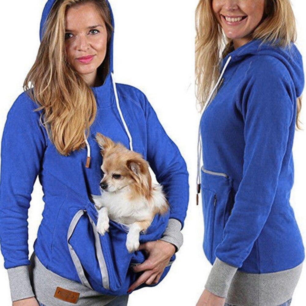 Unisex canguro soporte de animal gato perro bolsa bolsillo algodón blusa Hoodies Top algodón invierno fresco otoño primavera hoodie con estuche gato