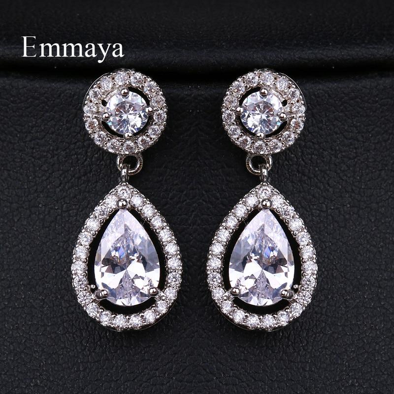 EMMAYA High Quality Teardrop Zircon Wedding Long Earrings Elegant Bridal Wedding Engagement Jewelry Accessories