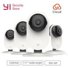 YI ev kamerası 720P 4 adet SET kablosuz IP kamera güvenlik gözetleme sistemi gece görüş kapalı bebek Pet monitör YI bulut wiFi GL