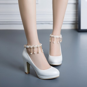 Women Platform Heels High Heel Shoes Woman Buckle Diamond Pearl Tassels Wedding Shoe Large Size42 43 Bride Shoes Party Pumps