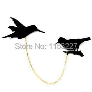 Gran oferta broche de banda silla a la moda Pájaro negro
