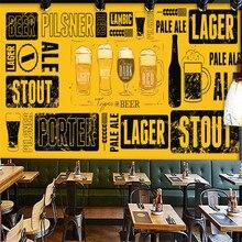Papier peint Mural jaune peint à la main   Grille murale, décoration murale pour maison de bière, murale 3D personnalisée