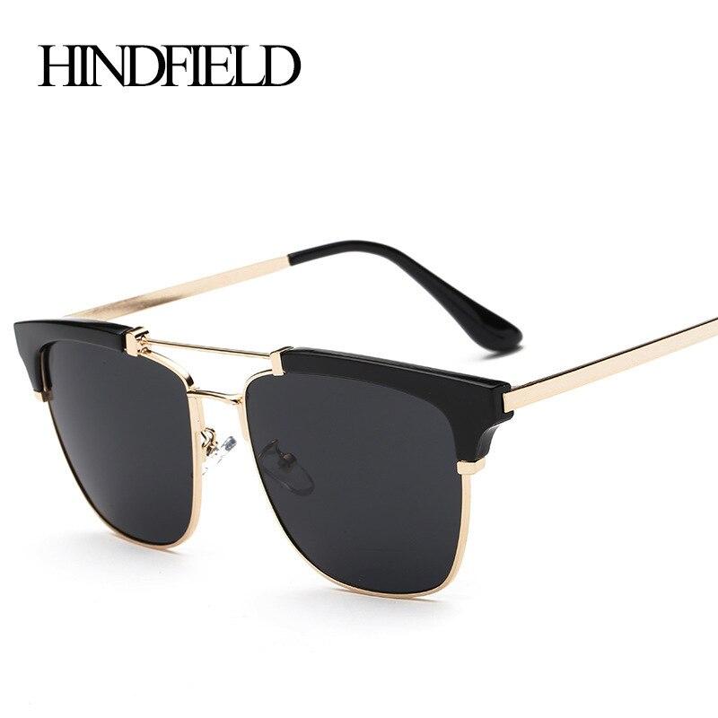 LONSY Fashion Half Frame Oversized Sunglasses Women Brand Designer Sun glasses For Women Top Quality
