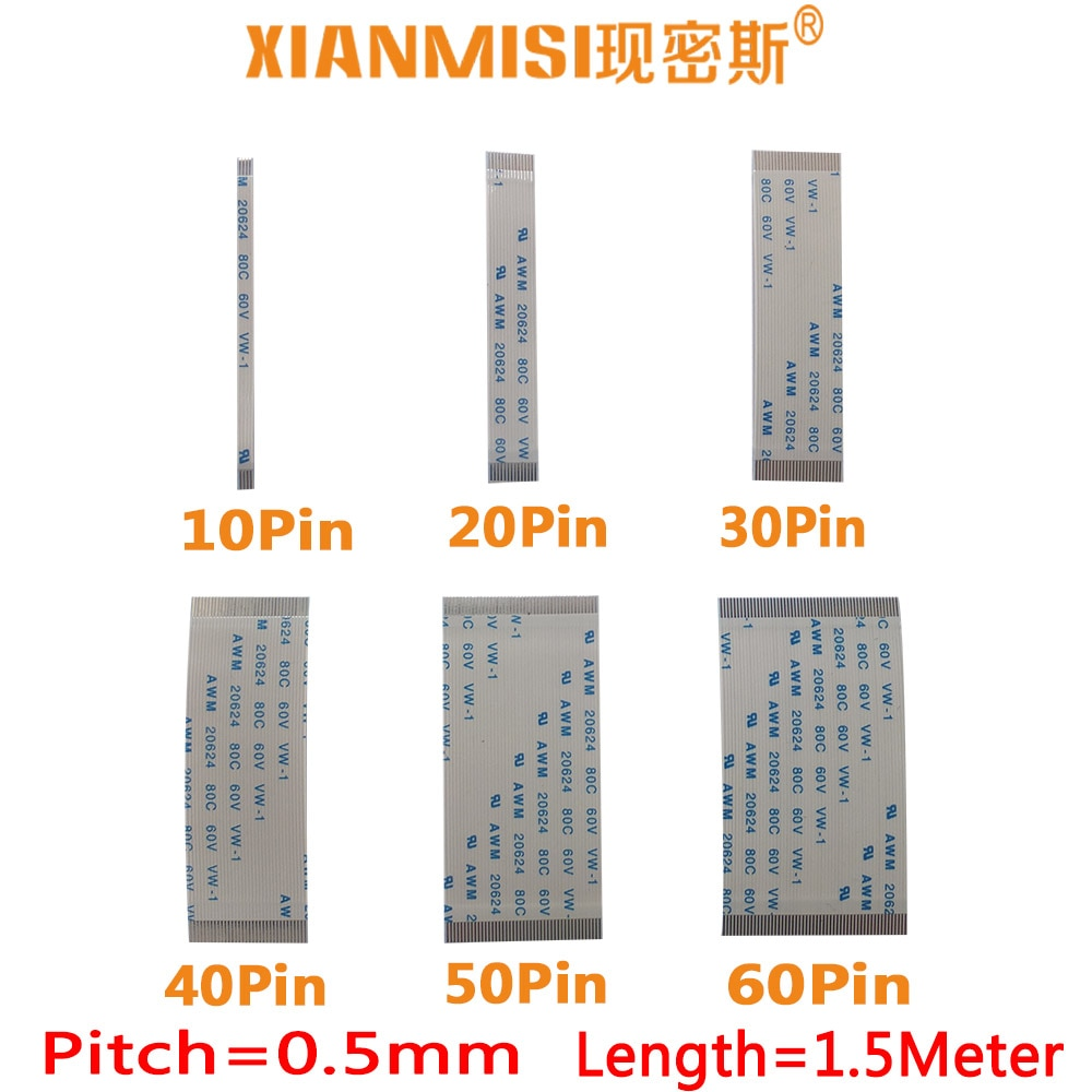 FFC/FPC Flat Flex Extension Cable 10Pin 20Pin 30Pin 40Pin 50Pin 60Pin Same Side 0.5mm Pitch AWM 20624 60V Length 1.5Meter 5PCS
