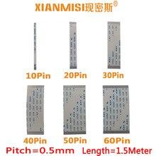 Câble dextension FFC/FPC Flex plat 10Pin 20Pin 30Pin 40Pin 50Pin 60Pin même côté 0.5mm pas AWM 20624 60V longueur 1.5 mètre 5 pièces