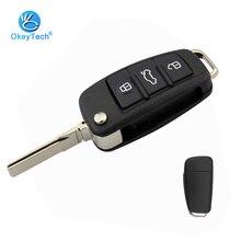OkeyTech Neue Ankunft 3 Taste Flip Folding 3 Taste Auto Schlüssel Shell für Audi a3 a4 b6 b8 tt a6 c5 q5 8p HU66 Uncut Klinge Kein Logo