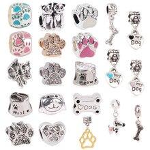 Couqcy Mode Silber Farbe Rose Gold Hund Pfote Perle Charme Für Europäische Pandora Charme Armbänder Frauen Geschenk