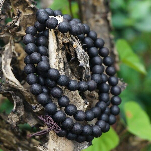 8mm * 108 * Natural Black Sandalwood Beads Ring Line / Ebony / Loose Mala Beads Japa Prayer Bracelet or Necklace DIY Accessories