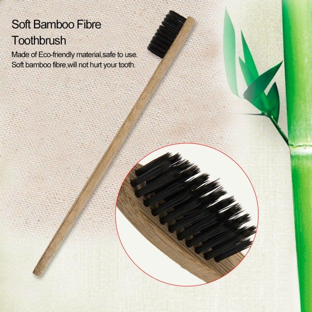 10 pçs/lote Environment-friendly Madeira Escova de Bambu Teethbrush Suave Cabo De Madeira de Fibra de Bambu Baixo-carbono Para Adultos