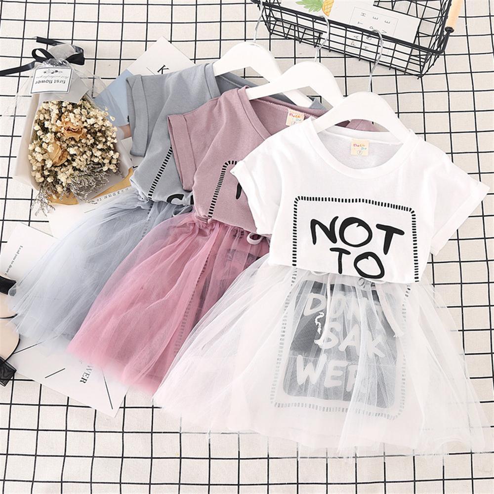 2 3 4 5 6 Year Girls Dress Summer Casual Kids Dresses for Girls A-line Mesh Children Princess Clothing Letter Toddler Costume