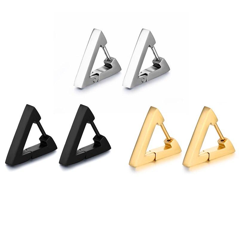 Semitree, 316L, pendientes de aro creativos de acero inoxidable, pendientes triangulares para mujeres, joyería de moda para hombres Huggie, joyería Punk hip hop, Bisutería