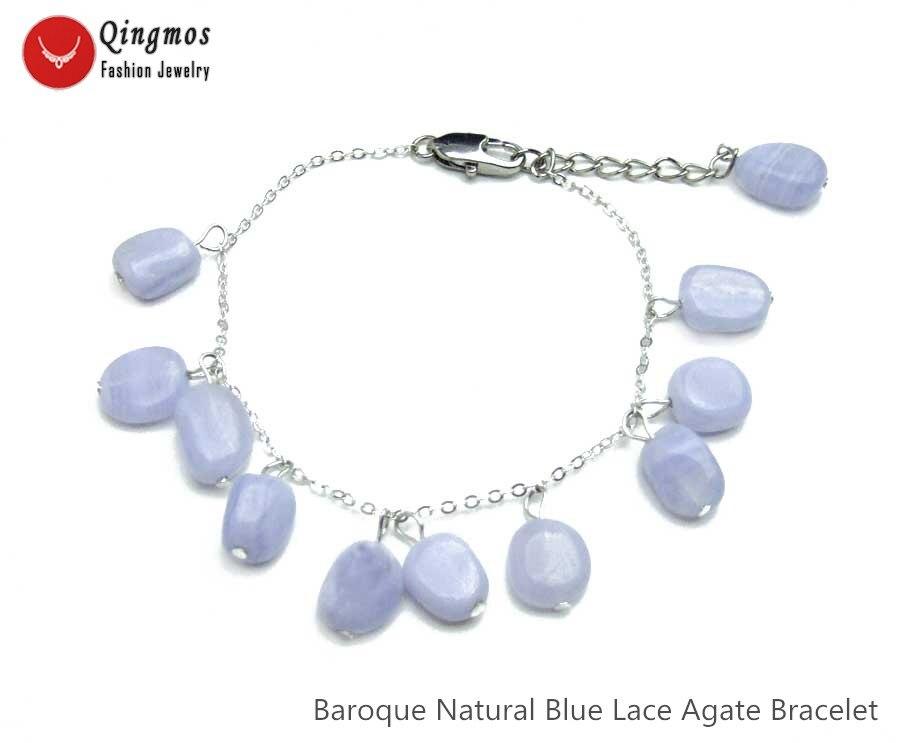 Женский браслет Qingmos, кружевные агаты из натурального синего камня в стиле барокко, 8-10 мм, браслет с агатами, украшения 7,5-8,8 дюймов, bra474