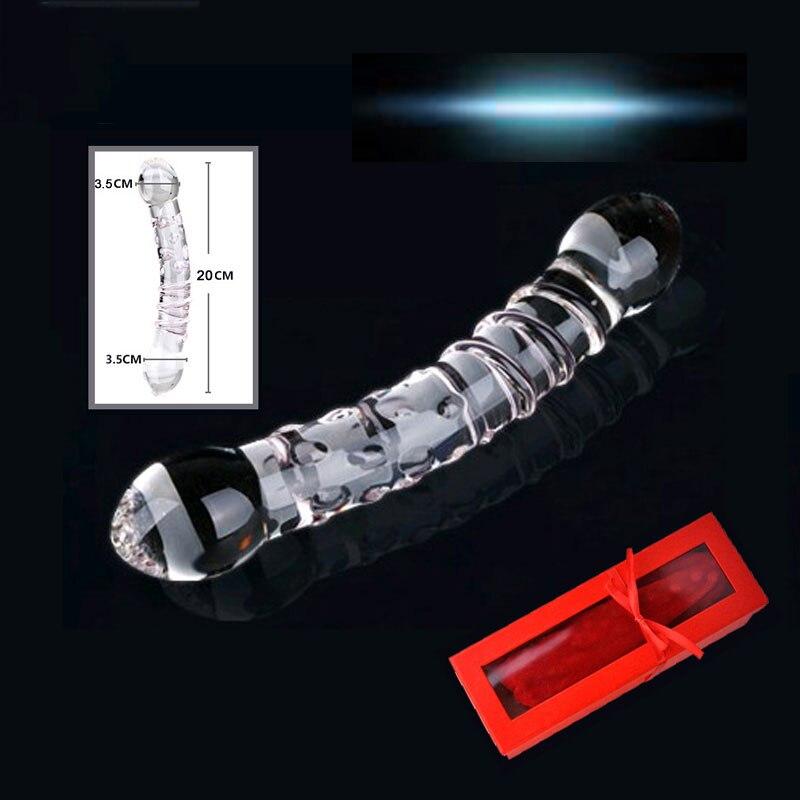 New Huge Double Head Crystal Glass Dildo Fake Penis Sex Toys Anal Butt Plug Vagina Clit Stimulator Female Gay Male Masturbation