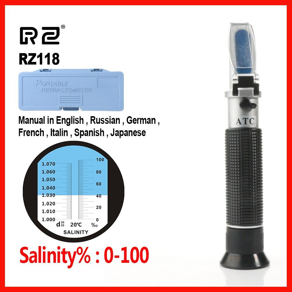 RZ ים מליחות Refractometer מטר מלח מים ריכוז אקווריום כף יד כלי חקלאות ימית רבייה Gravimeter 0 ~ 10% RZ118