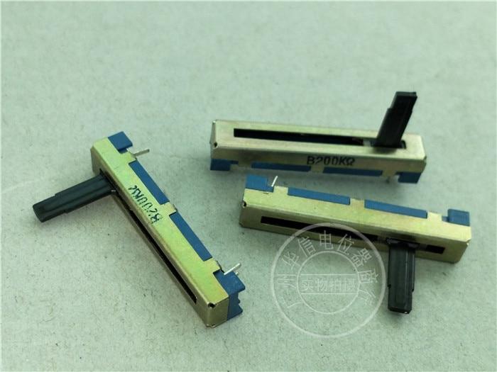5 uds 45MM de fader potenciómetro único B200K/longitud 15MMC Fondo azul