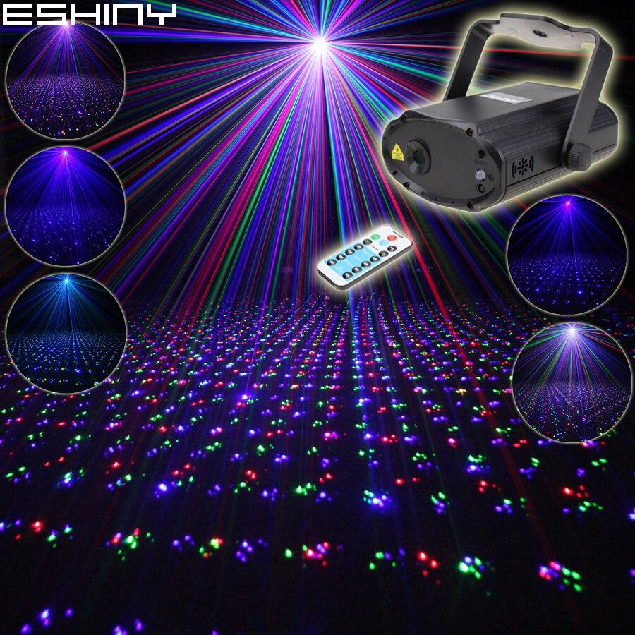 ESHINY بعيد صغير RGB الليزر كامل نجوم نمط العارض DJ الرقص ديسكو بار الأسرة حفلة عيد الميلاد الإضاءة تأثير الضوء تظهر N6T179