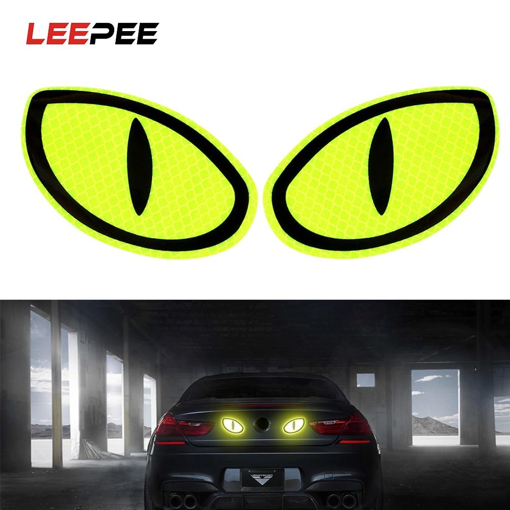 LEEPEE 2 шт. большие глаза автомобильные отражающие наклейки Предупреждающие ленты светоотражающие полосы знак безопасности автомобиля двери бампер наклейки аксессуары