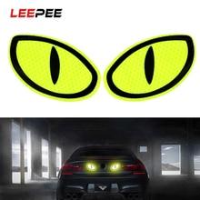 LEEPEE 2 조각 큰 눈 자동차 반사 스티커 경고 테이프 반사 스트립 안전 마크 자동차 도어 범퍼 스티커 액세서리