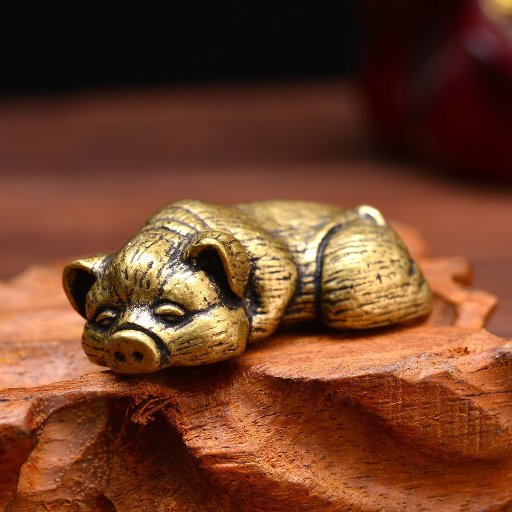 Mini Vintage Messing Nettes SCHWEIN Faul Wildschwein Statue Abbildung Liegen Ferkel Tier Skulptur Home-Office Schreibtisch Dekorative Ornament Spielzeug Geschenk