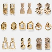 Ladyfirsy Fashion ZA Elegant Hanging Earrings Gold Statement Plated Metal Drop Dangle Earrings Maxi Wedding Party Jewelry Bijoux