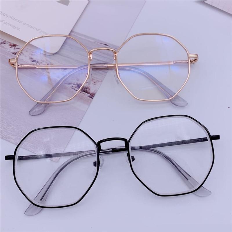Men Vintage Anti Blue light Glasses Frame Round Women Lens Myopia Optical Mirror Simple Metal Anti-blue Clear Eyewear Frames