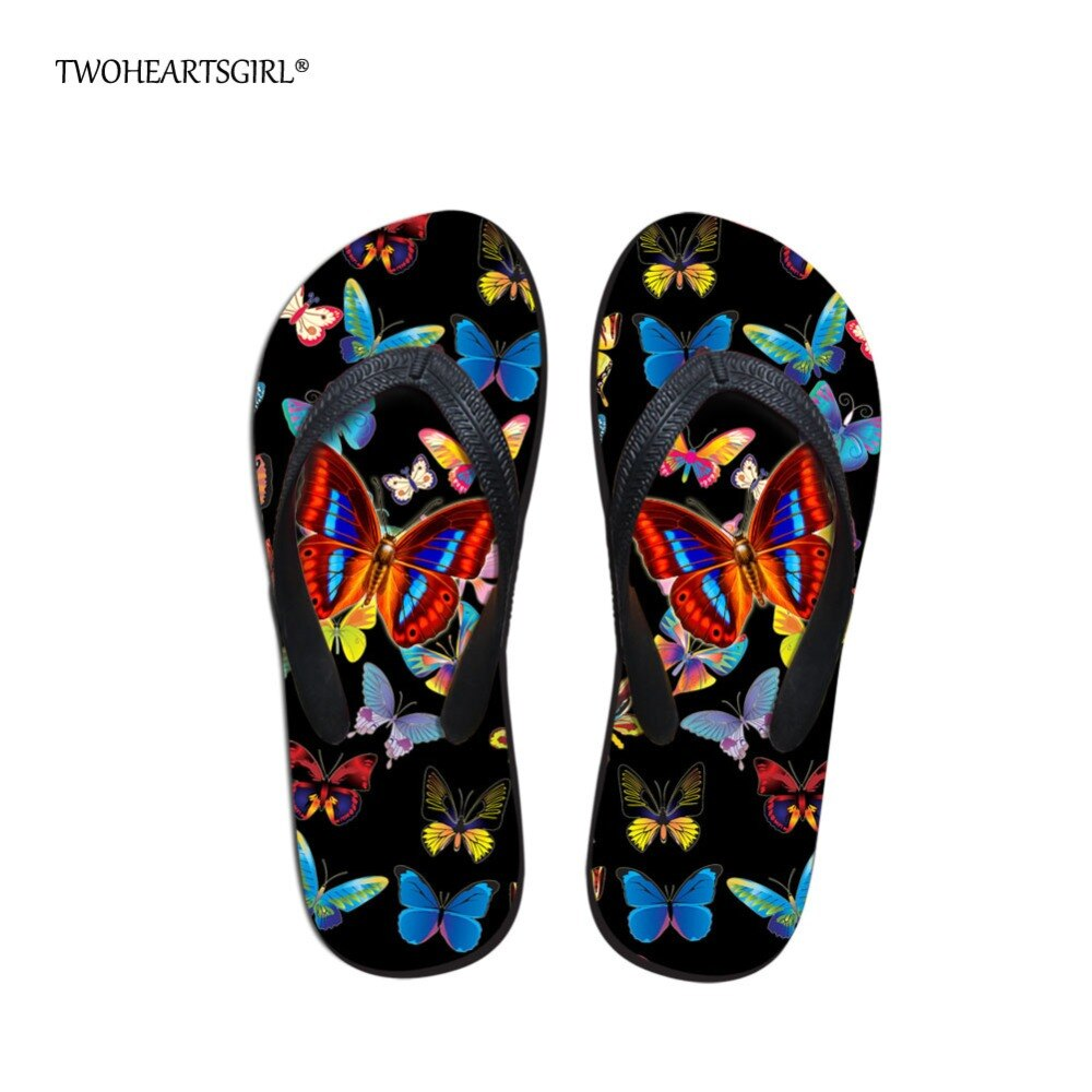 Twoheartsgirl Pretty Butterfly Flip Flops for Women Flat Heel Sandals Nonslip Rubber Soft Femme Beach Flipflops Summer Slippers