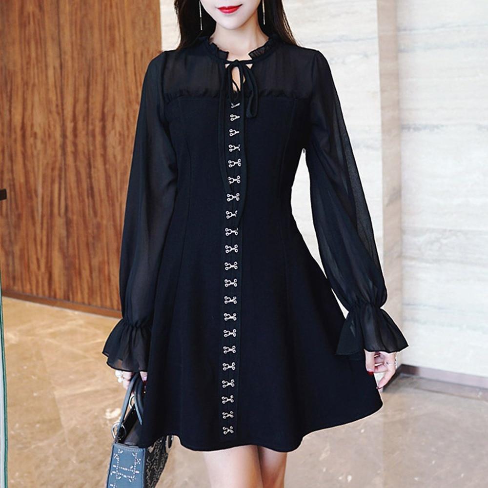 Moda mujer negro Vintage elegante Oficina Lady Date Night Dresses 2019 otoño A-Line Lace-Up Girls Cool Plain vestido femenino