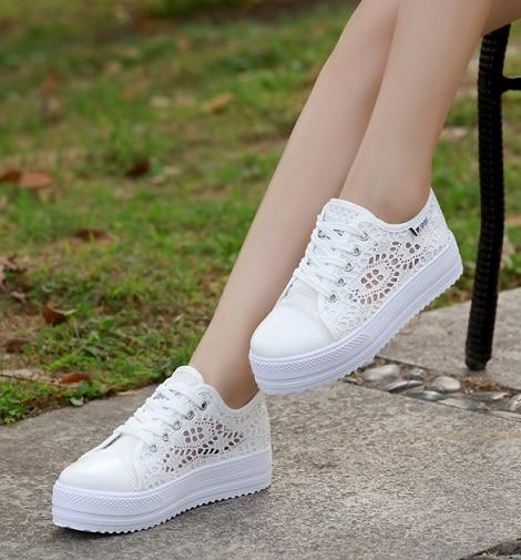 2017Fashion Summer Women Shoes Casual Cutouts Lace Canvas Shoes Hollow Floral Breathable Platform Flat Shoe sapato feminino35-40