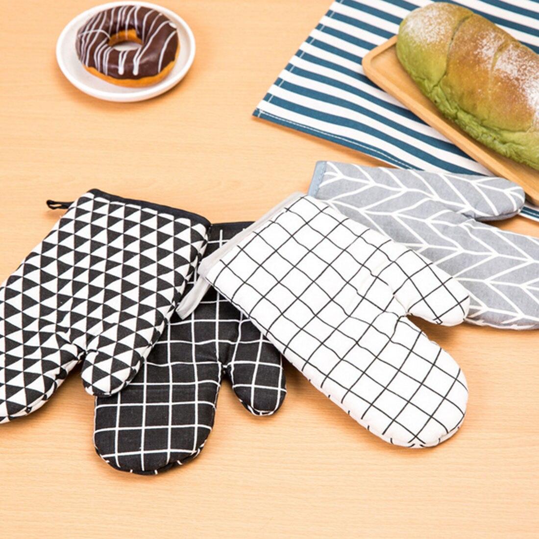 Bueno 1 Uds guante de algodón para el horno resistente al calor guante de cocina guante de horno microondas antideslizante guantes engrosamiento
