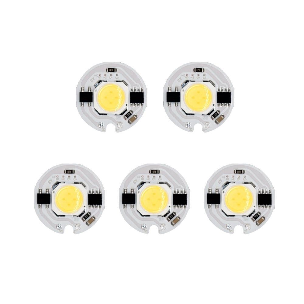 Lote de 5 uds. De luces LED COB de 3W, 5W, 7W y 9W, AC185-AC220V sin necesidad de controlador, luces IC inteligentes para foco de proyección LED DIY