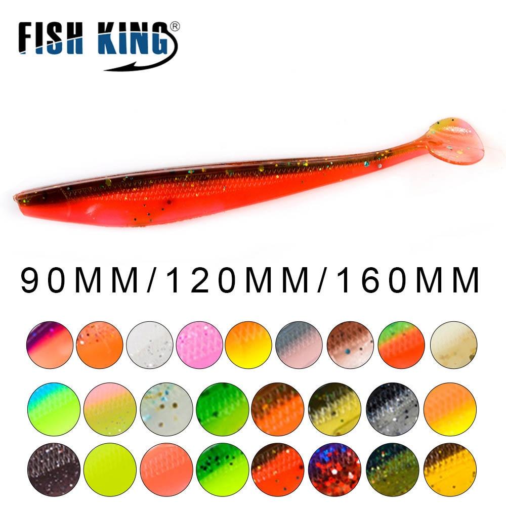 FISH KING Fishing Lures Soft Bait 90mm 120mm 160mm Swimbait Craws Impact T Tail Soft Lures Fishing Bass Bait Panfish Carp
