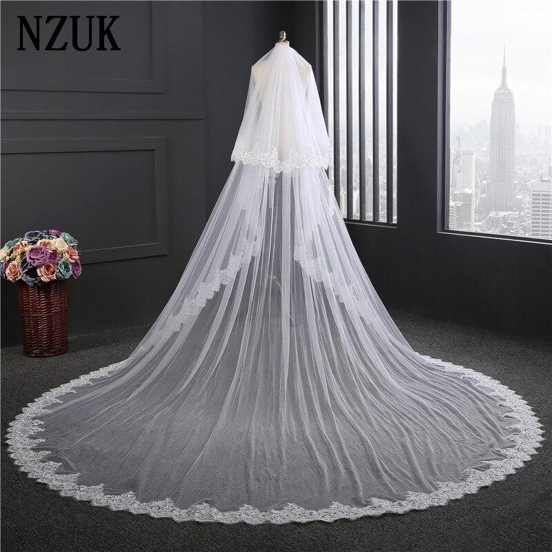 Nzuk novo super largo véus de noiva novo 2017 duas camadas 3.5 m branco/marfim nupcial acessório véu para noivas laço véu casamento