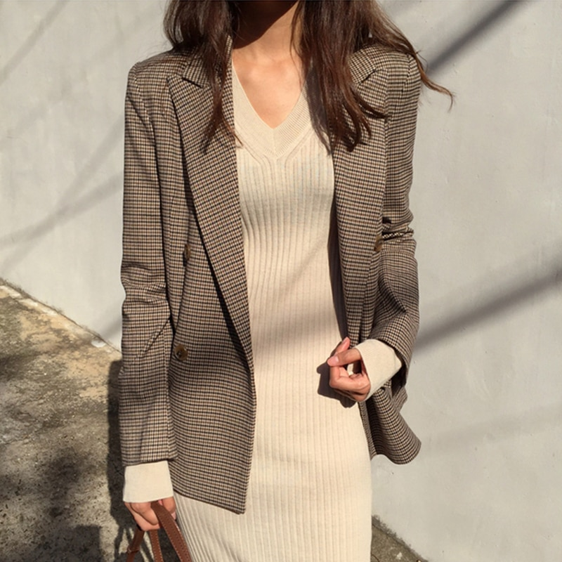 BGTEEVER Double Breasted Plaid Blazer Vintage Houndstooth Full Sleeve Office Ladies Suit Coat 2018 Autumn Jacket Women blazers