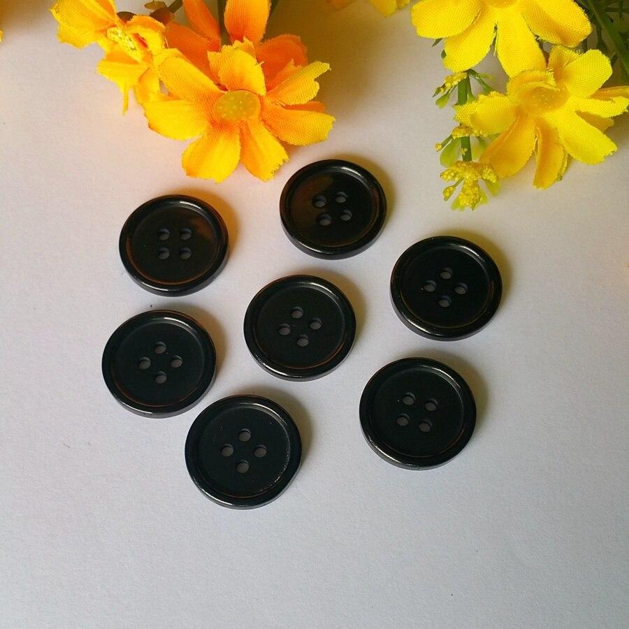 80 Uds botones negros de resina de 4 agujeros, 23mm, botones para prenda a granel, scrapbooking y accesorios de costura