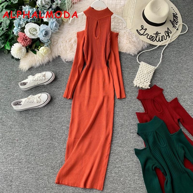 ALPHALMODA 2019 Autumn Women's Off Shoulder Long Sleeve Knitted Bottom Dress Solid Ripped Ladies Slim Knit Vestidos