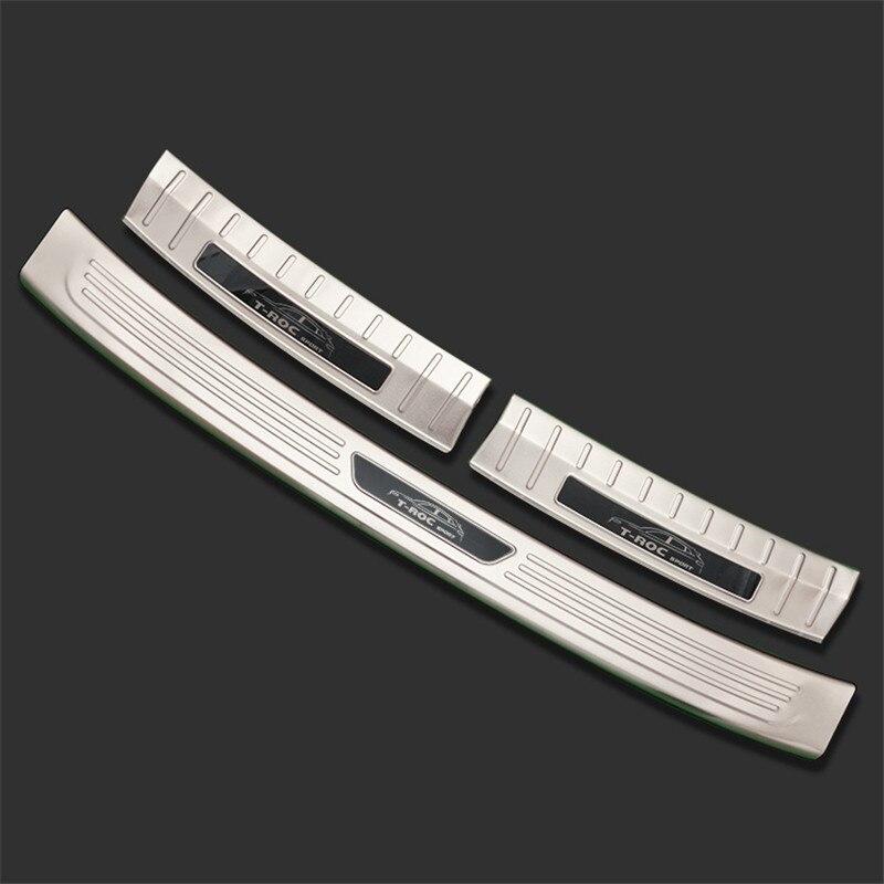 Accessories for Volkswagen T-ROC t roc troc 2018 Stainless Steel Rear Bumper Foot Plate Protector Door Sill Scuff Sticker