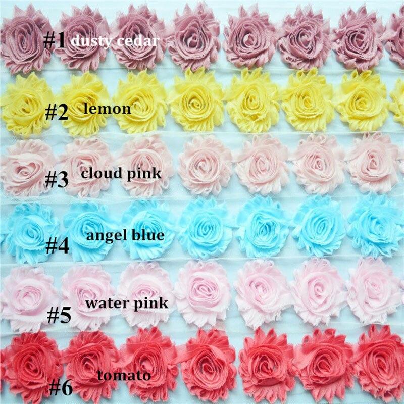 18 yardas/lote, 2,5 shabby flores de Gasa, diadema flores desgastadas 28 colores