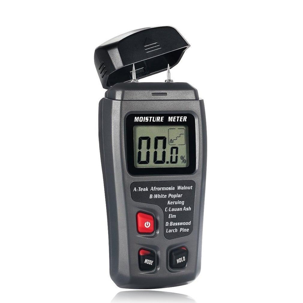 EMT01 dos pines LCD Digital de alta precisión medidor de humedad de madera 0-99.9% probador de humedad de madera con gran pantalla LCD