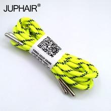 1-12 paire Fluorescent jaune noir Sport de plein air lacets ronds chaussure dentelle botte athlétique unisexe corde athlétique métal tête lacet