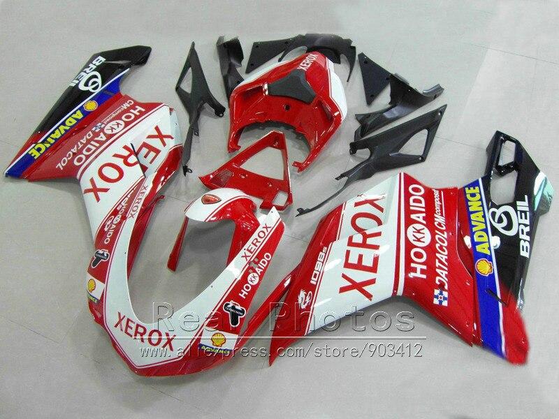 Plástico ABS kit de carenado para Ducati 848 de 1098, 1198 07 08 09 10 11 rojo blanco negro Juego de carenados 848, 1198, 2007-2011 HZ31