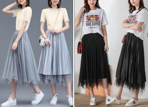 Elegant Women Skirts 2019 New Spring High Waist Slimming Long Pleated Skirt Knee Two ways of wearing