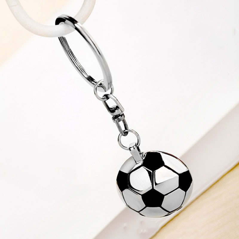 LLavero de fútbol Semi-forma circular con espejo trasero llavero colgante decoración fútbol equipo deporte Fans niños Festival regalos
