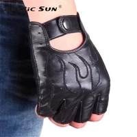 new genuine leather semi finger gloves male imported lambskin driving flame pattern embroidery anti slip men mittens m047n