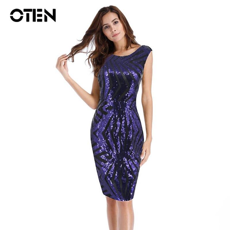 OTEN 2020 moda tendencia verano manga corta cremallera trasera púrpura Fiesta Club Bodycon ocasión especial vestidos lentejuelas cuentas vestido