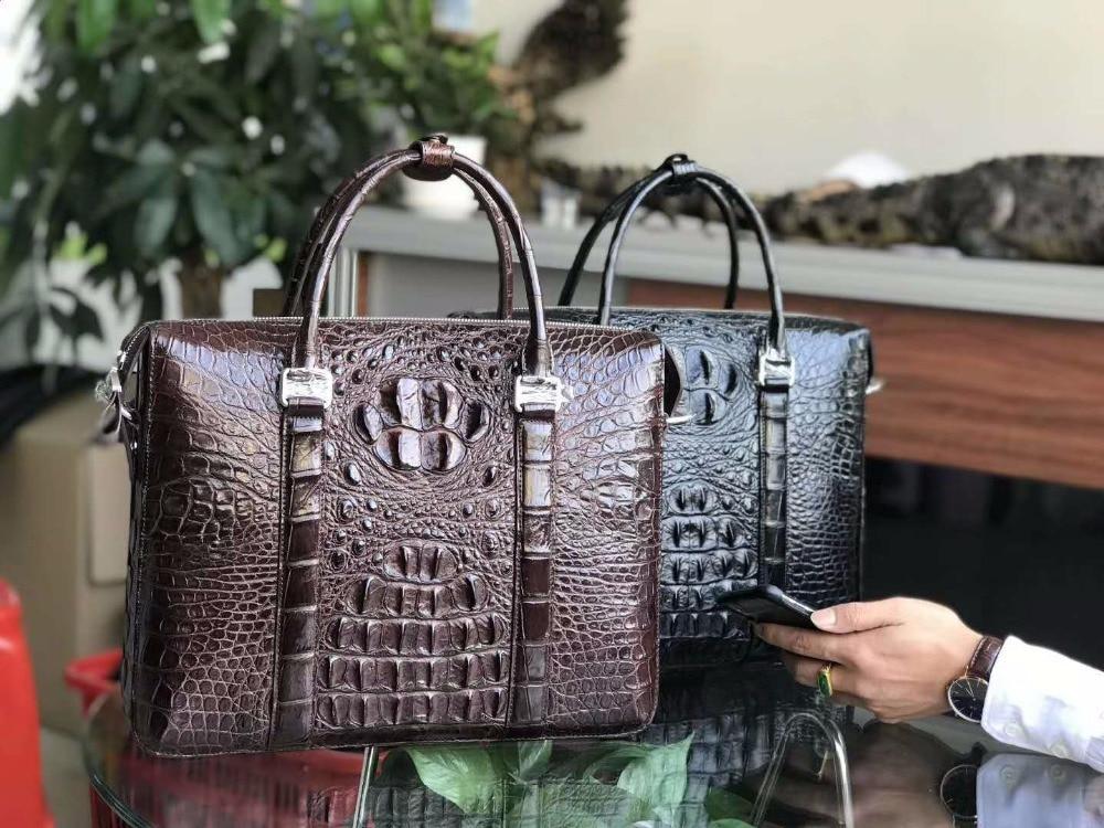 حقيبة جلد تمساح أصلية 100% للرجال ، حقيبة عمل ، حقيبة كمبيوتر محمول ، بني ، أسود ، شحن مجاني
