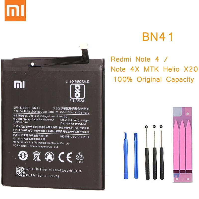 Original Phone Battery for Redmi Note 4 Battery Xiaomi hongmi Note 4X MTK Helio X20 BN41 Replacement Batteries Red rice bateria