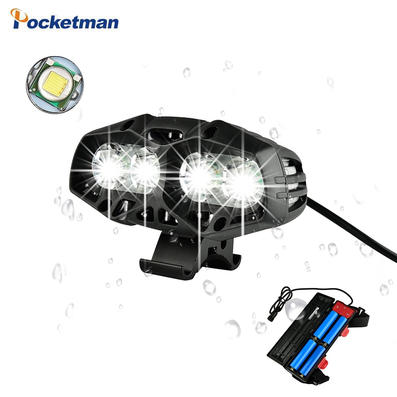 8000Lumen 4 * T6 LED Luz de bicicleta linterna impermeable USB recargable bicicleta accesorios potentes por batería 18650