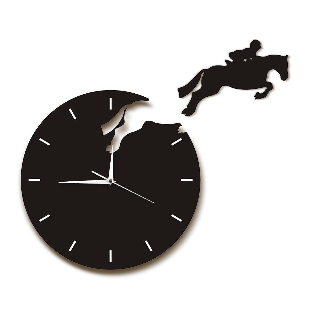 Reloj de pared con cuernos de 1 pieza, reloj de pared con diseño moderno de jinete que salta a caballo, caballo que salta, decoración Ecuestre para el hogar