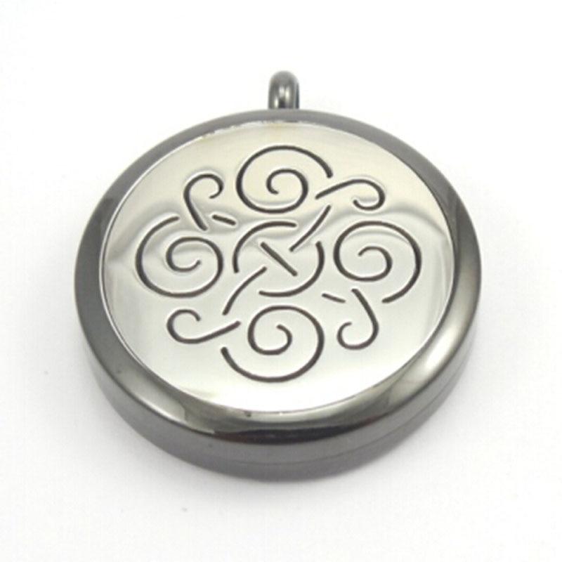 Medallón medallón con perfume de aromaterapia colgante de 10 Uds de aceites esenciales de onda redonda negra