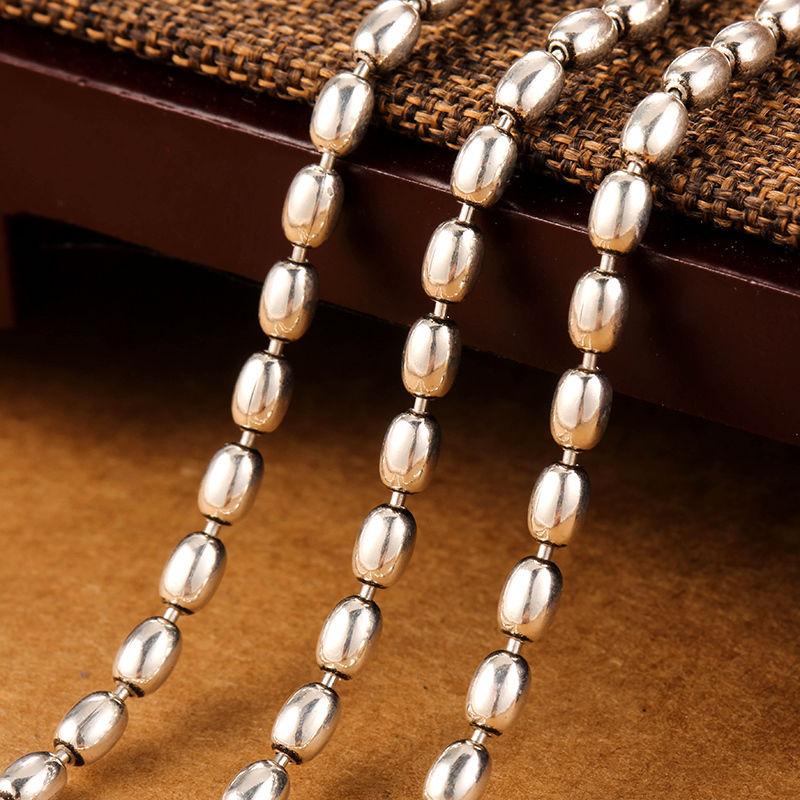 Collar de plata de ley 925 pura 3mm W collar de cadena de eslabones ovalados 70cm